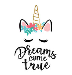 greeting cards with dreams come true inscription vector image