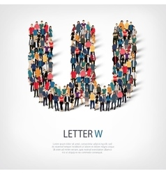 group people shape letter W vector image