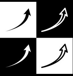 Growing arrow sign black and white icons vector