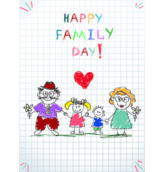 happy family day picture kids with mom and dad vector image