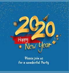 Happy new year 2020 golden number with glitter vector