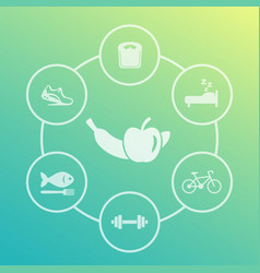 Healthy lifestyle icons set diet sleeping fitness vector