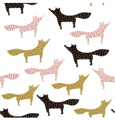 Holiday seamless pattern with hand drawn foxes vector