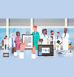 Hospital medical team group of doctors in modern vector