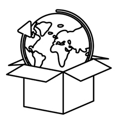 Isolated delivery package and world design vector