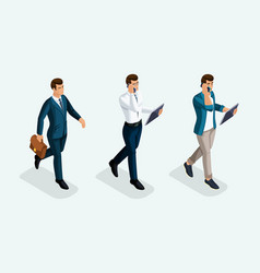 isometric businessmen are coming forward front vi vector image