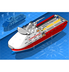Isometric Icebreaker Ship Isolated in Front View vector