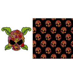 Jolly Roger of roses Flower skull Pattern skulls vector