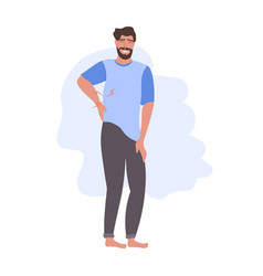Man having pain in his back backache problems flat vector