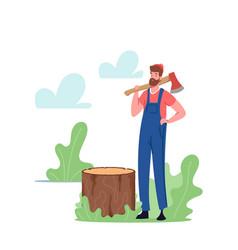 Man logger cutting trees lumberjack character vector