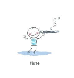 Man plays the flute vector