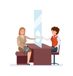 manager serves permanent client with gold card vector image