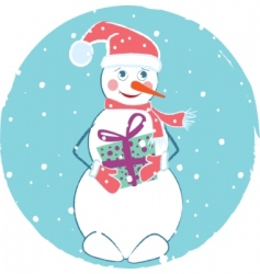 merry christmas card with snowman vector image