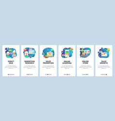 Mobile app onboarding screens online shopping vector