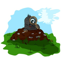 Mole with a magnifying glass on molehill vector