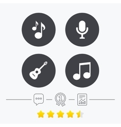 Music icons Microphone Acoustic guitar vector image