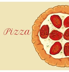 neapolitan pizza with white cheese tomato and vector image