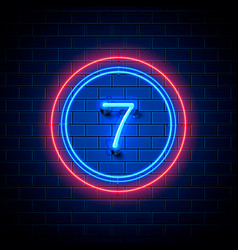 Neon city font sign number 7 vector