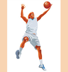 One young man basketball player silhouette vector