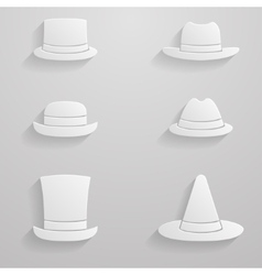 Paper hats icon set vector