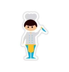Paper sticker on white background male cook vector