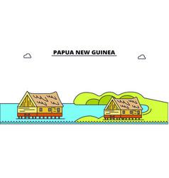 papua new guinea line skyline vector image