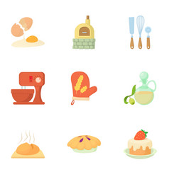 Patisserie icons set cartoon style vector