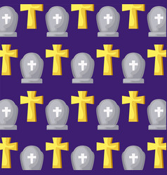 Pattern graveyard tombstone and christian cross vector