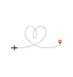 Plane way icon airplane path direction vector