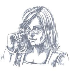 Portrait of delicate good-looking business woman vector