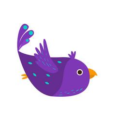 purple beautiful bird parrot flying in blue sky vector image