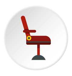 Red barber chair icon circle vector