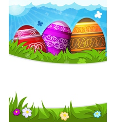 Red purple and brown painted Easter eggs vector image