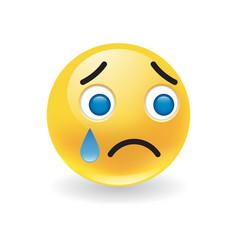 Sad upset little yellow round emoticon crying vector