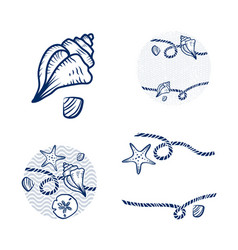 sea shell and rope design set vector image