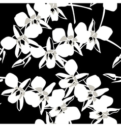 Seamless wallpaper pattern with orchid on black vector image