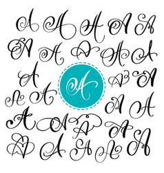 Set of hand drawn calligraphy letter a vector