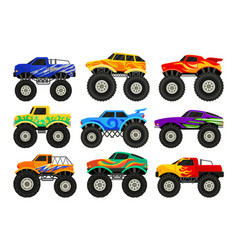 set of monster trucks heavy cars with large tires vector image