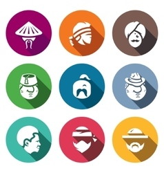 Set of People Nation Icons Chinese Thai vector image