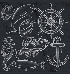 set of summer symbols ship rudder anchor vector image