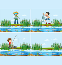 set people catching a fish vector image