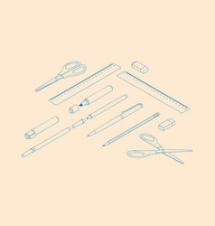 stationery assortment set of rulers pencil pen vector image