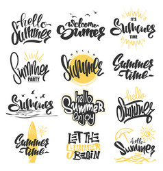 summer hand drawn lettering elements set vector image