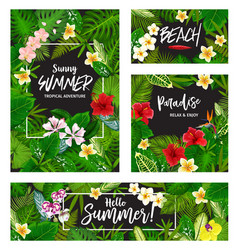 summer tropical vacation card wth exotic palm leaf vector image