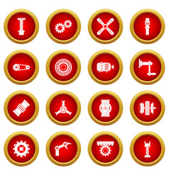 Techno mechanisms kit icon red circle set vector