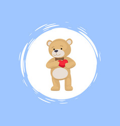 Teddy bear with heart in paws cartoon icon vector