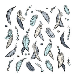 the feathers set hand drawn vector image