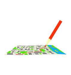the route and pencil on the map of the city vector image