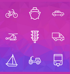 Transport outline icons set collection of camion vector