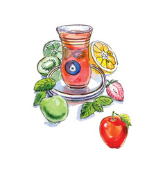 turkish apple tea in traditional glass cup vector image